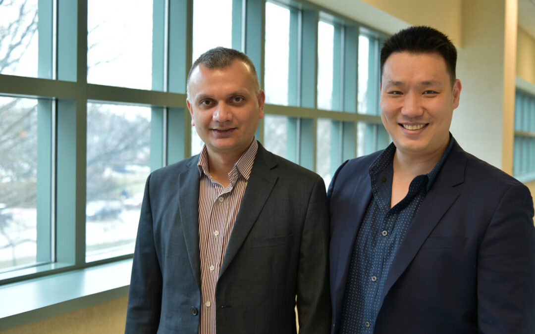 Visiting scholar Anuj Yadav, left, and Jefferson Chan, an assistant professor of chemistry, are interested in developing probes that are specific for Cyclooxygenase-2.