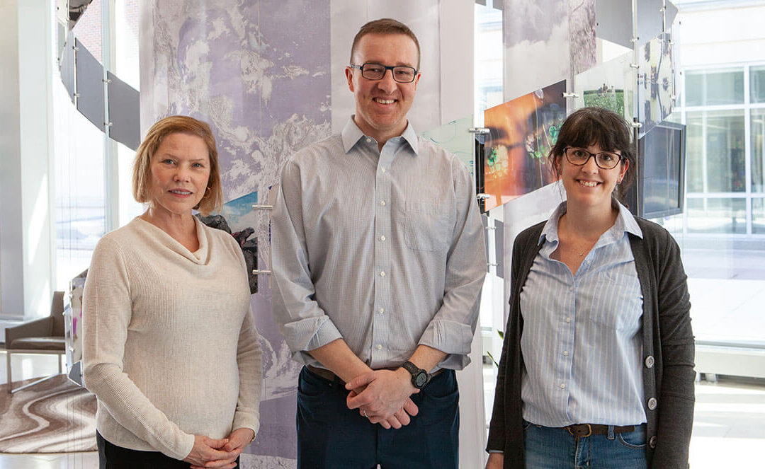 Professor of Cell and Developmental Biology Lisa Stubbs, left (GNDP theme leader) with Robert W. Schaefer Professor of Chemical and Biomolecular Engineering Brendan Harley (RBTE theme leader) and Research Assistant Professor Sara Pedron-Haba.