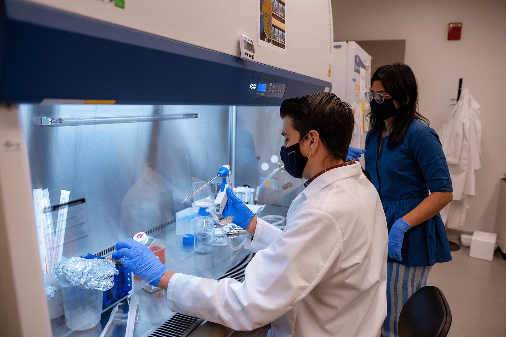 Underhill lab tech testing samples