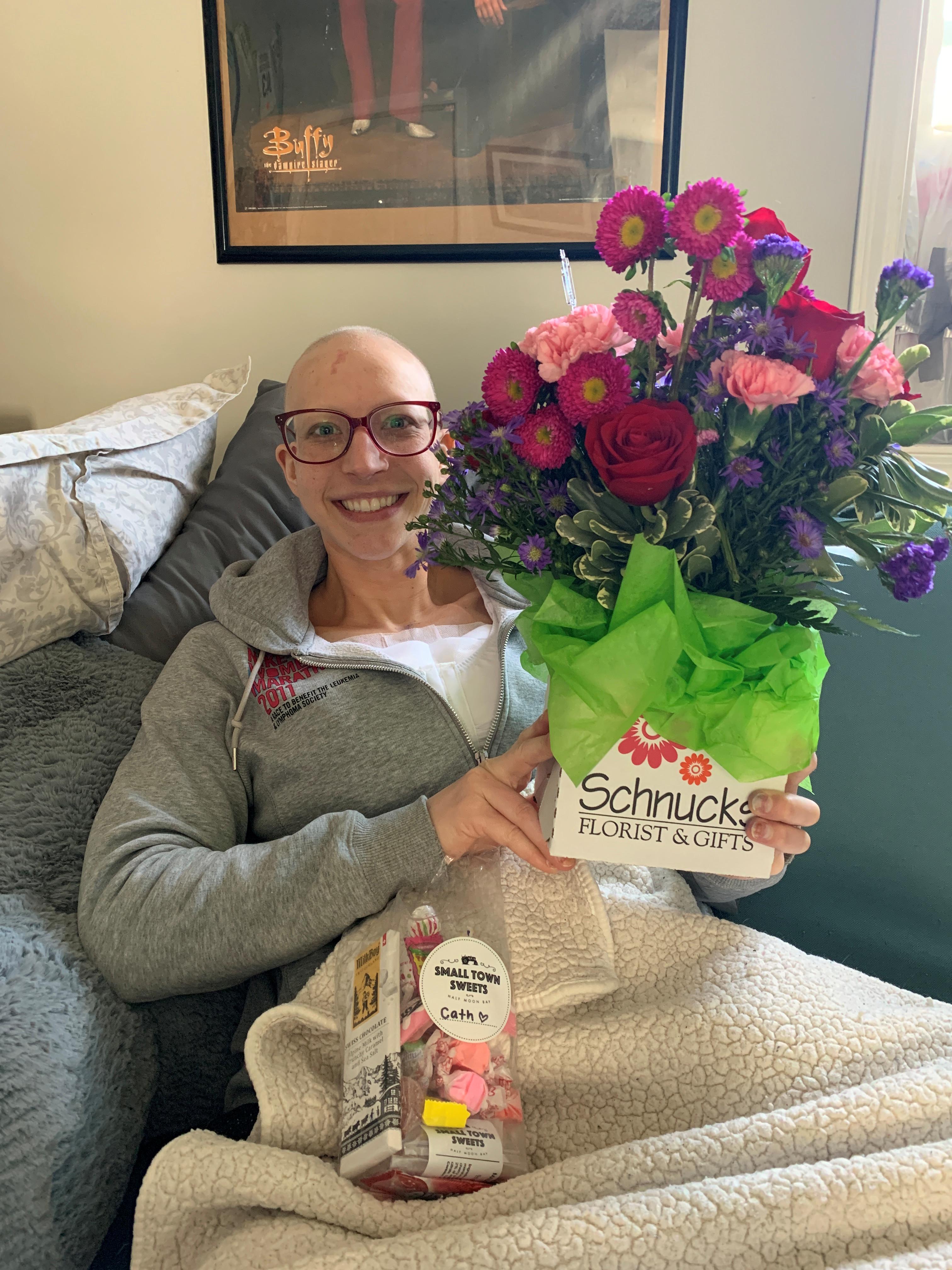 Catherine Applegate holding flowers